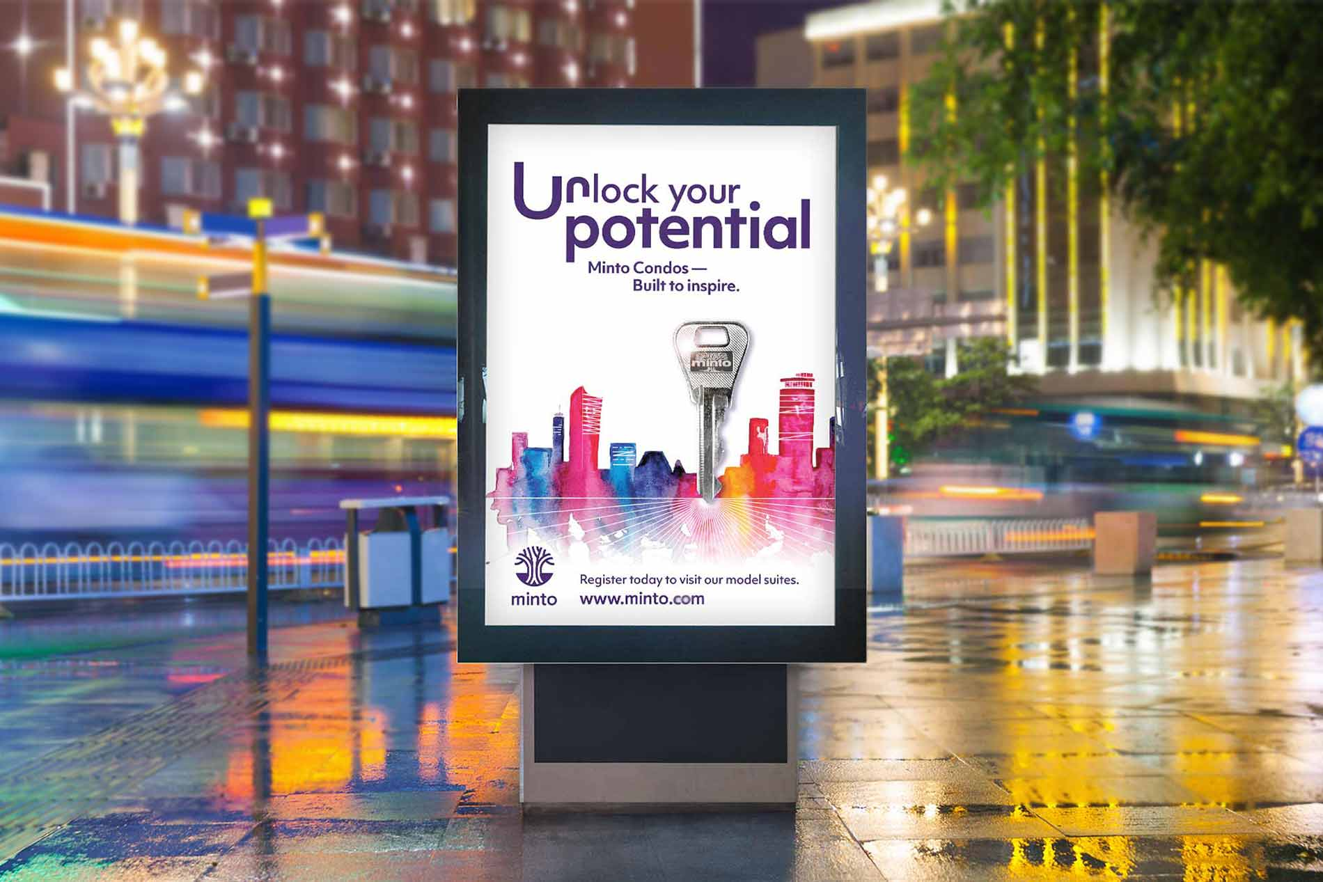 An image of a vertical billboard with campaign design on it