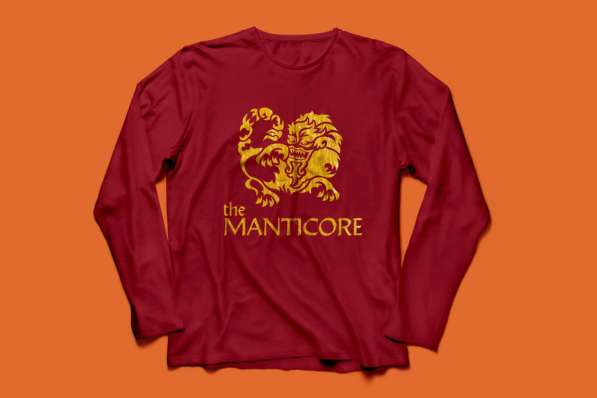 An image of a shirt with the created manticore symbol.